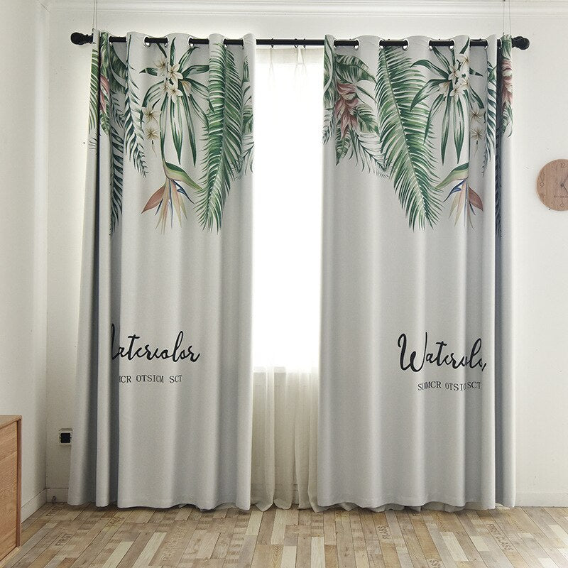 Tropical Green Leaves Curtain
