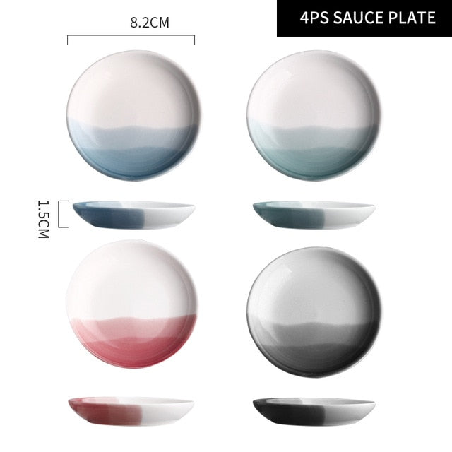 RHE Mountain Scenery Ceramic Dinner Plate Big Round Dessert cake plate Square Steak pizza dish Restaurant kitchen tableware set