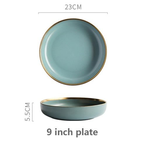 Solid Color Ceramic Gold Inlay Plate Steak Food Plate Nordic Style Tableware Bowl Dessert Dish Dinner Dish Dinnerware Set