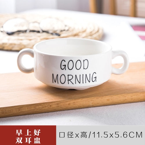 Nordic Ceramic Cutlery Set Creative Letters Good Morning Plate Cup Dish Bowl Spoon Coffee Cup Western Plate for Home