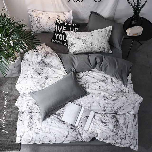 Saoltexile Duvet Cover King Size Queen Size Comforter Sets Geometric Printing Bedding Set AB#196
