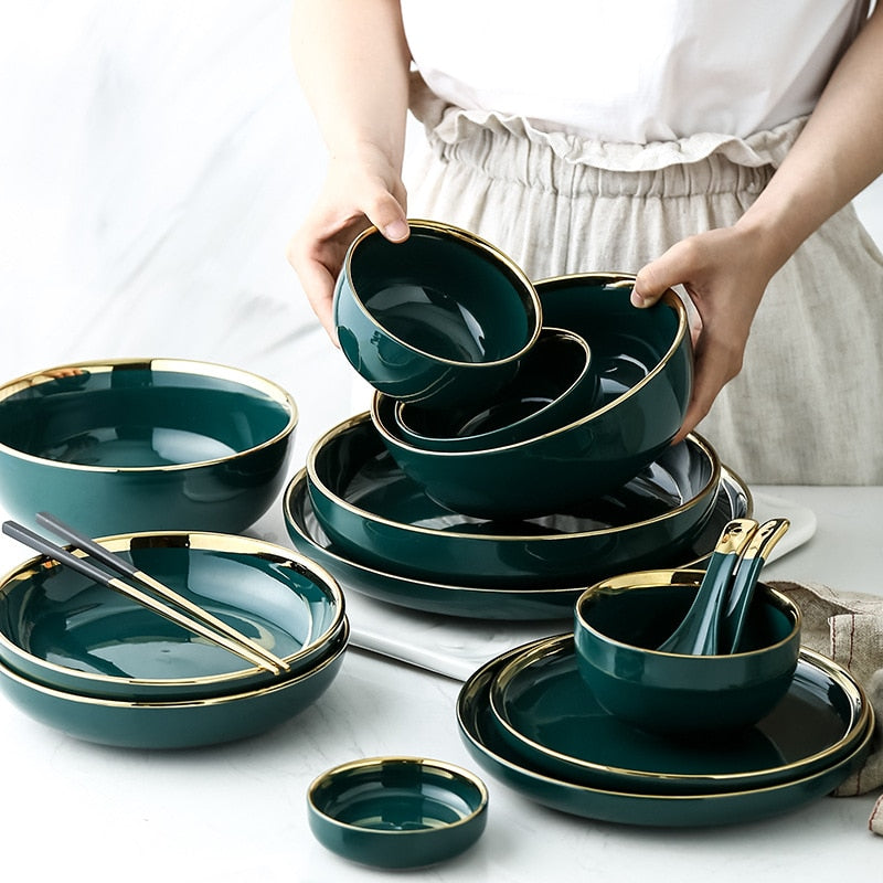 Green Ceramic Gold Inlay Plate Steak Food Plate Nordic Style Tableware Bowl Ins Dinner Dish High End Porcelain Dinnerware Set