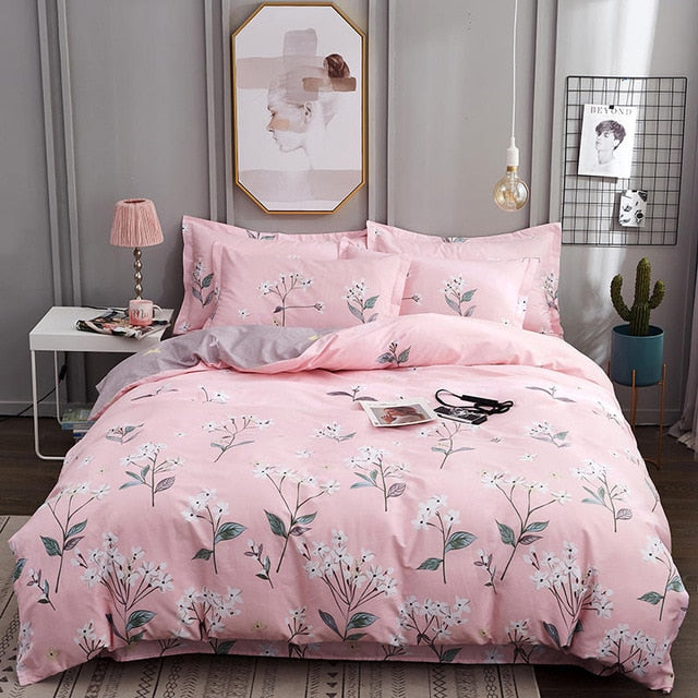 Luxury pure cotton European plaid printed bedding sets full queen king size duvet cover pillowcase flat sheet set