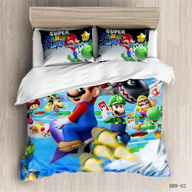 New Super Mario Bros Bedding Set Duvet Covers Pillowcases Mario Comforter Bedding Sets Soft Bed twin bedding set