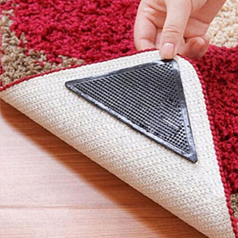 4pcs/Set Reusable Washable Rug Carpet Mat Grippers Non Slip Silicone Grip For Home Bathroom Living Room 301-0759