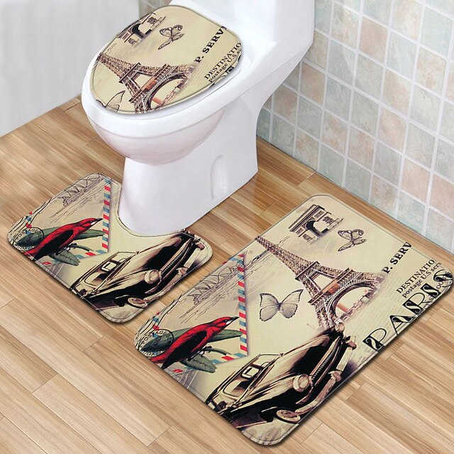 The London Wind 3pcs/lot Bathroom Rugs and Mat Set Anti Slip Bath Mat 3D Toillete Carpet Eco-Friendly Kitchen Blanket Doormats