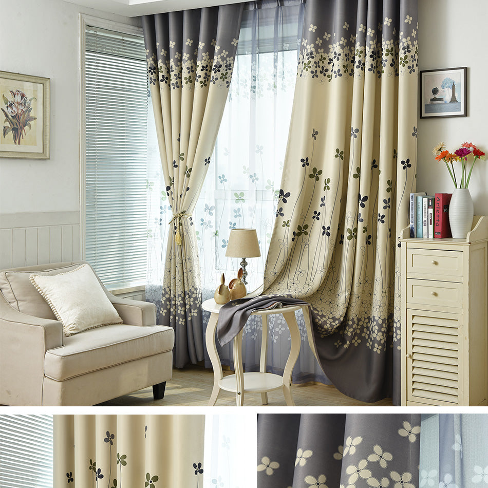 Floral Print Blackout Curtains