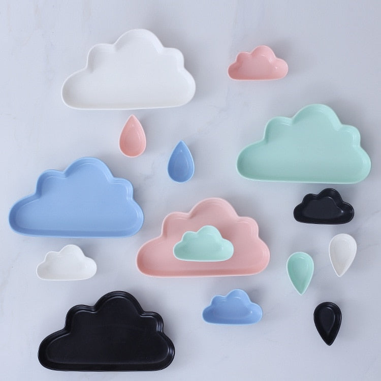 Nordic Cloud Rain Design Ceramic Dish Plate Saucer for kids Porcelain Pastry Snacks Dish for Children Cake Dish Tableware Set