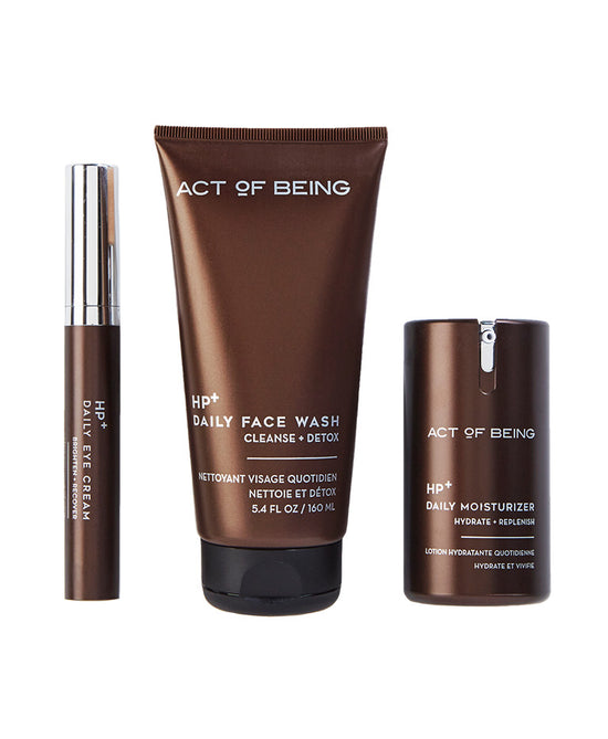 Act of Being The Daily Essentials limited edition collection set. SRP $86.00 ($124.00 Value).  Set includes; Daily Face Wash, Daily Moisturizer and Daily Eye Cream