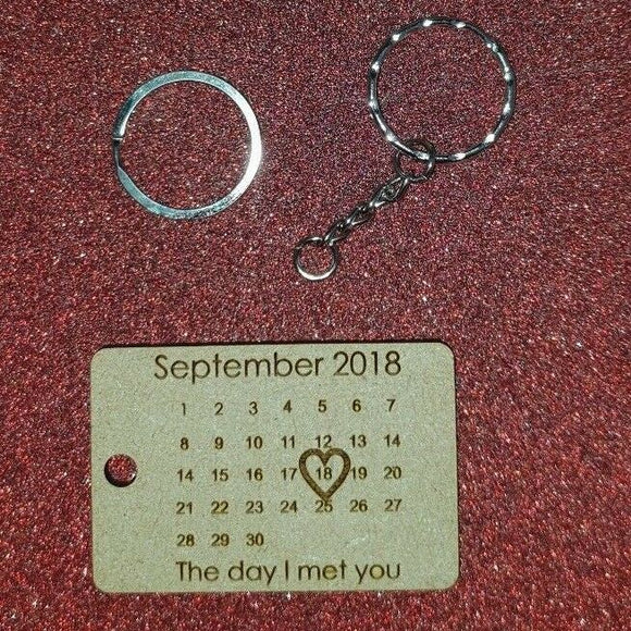 Laser Cut & Engraved MDF Wood or Acrylic - Personalised  Date Key Ring - Sawfish Laser