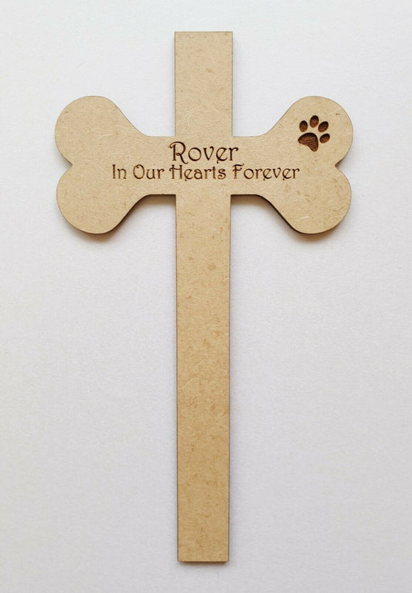 Personalised Laser Cut & Engraved Wood MDF Cross For Pets - fish bone or carrot - Sawfish Laser