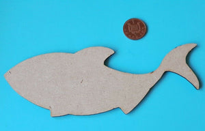 Wooden MDF Whale Shape - craft, mixed media - laser cut  - any size - Sawfish Laser