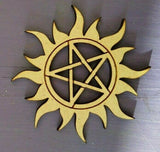 Laser Cut MDF Rustic Wooden Pentagram In Sun Pentangle, Craft, - Sawfish Laser