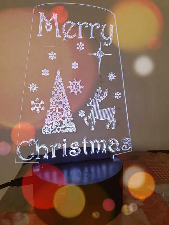 Laser Engraved LED Christmas Light 16 Rotating Colours Remote Control Gift - Sawfish Laser