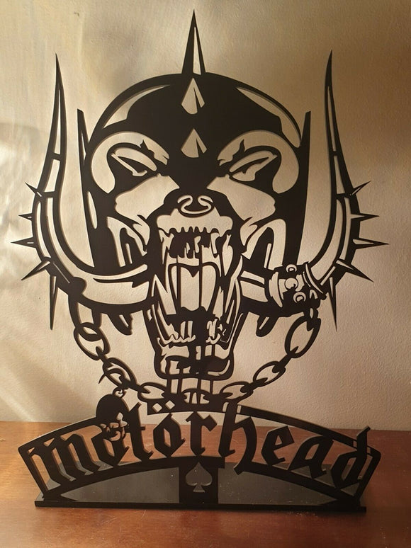 Laser Cut Black Perspex Motorhead Image Plaque Sign Heavy Metal Lemmy NWOBHM - Sawfish Laser