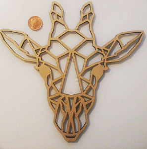 Laser Cut MDF Wood Geometric Giraffe 100/150/200/250mm craft