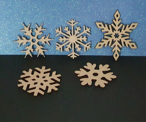 Laser Cut Rustic Wood MDF Snowflakes -   40mm to 100mm, Nordic, Craft, Christmas - Sawfish Laser