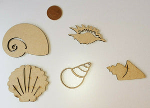Laser Cut Wood MDF Shell Collection -   Conch Clam - Sawfish Laser