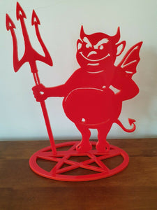 Laser Cut Red Black MDF Devil Silhouette Standing On A Pentangle Pentagram - Sawfish Laser