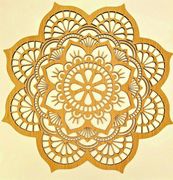 Large Laser Cut 4mm MDF Wood Mandala Rustic Boho Country Farmhouse