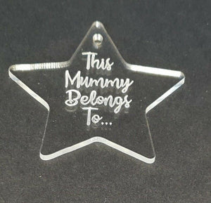 Laser Cut & Engraved Personalised Clear Acrylic Perspex Star Christmas - Sawfish Laser
