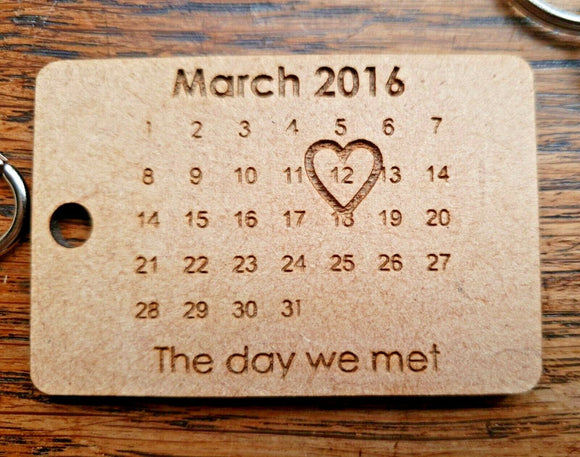 Laser Cut Engraved Perspex, Oak MDF The Day We  Became Personalised Keyring Gift - Sawfish Laser