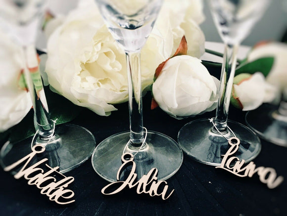 Personalised Wedding Wood  Love Label Wine Charm Tag Rustic Party Favours - Sawfish Laser