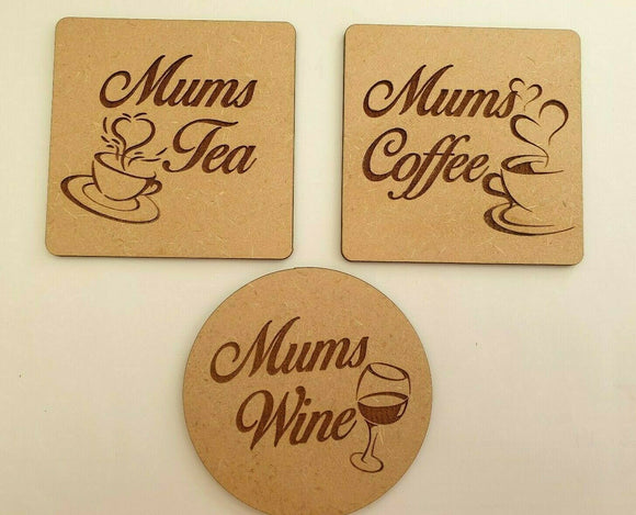 Laser Cut & Engraved  Wood MDF Mothers Day Coaster Set Wine Coffee Tea Gift Fun - Sawfish Laser