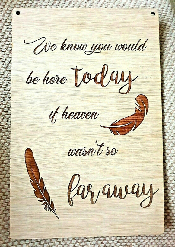Remember Heaven Angel Laser Engraved Wedding Graduation Plaque Oak & Stand - Sawfish Laser