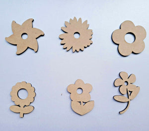 Laser Cut MDF Wood Flowers Scrapbooking Mixed Media Happy Rustic - Sawfish Laser