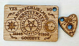 Laser Cut Engraved MDF Oak Acrylic Ouija Fantasy Occult Keyring with Planchette