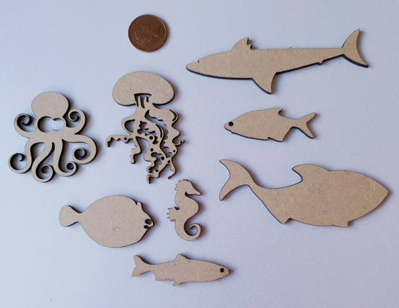 Laser Cut Wood MDF Sea Creature Collection -   Octopus Jellyfish Shark Whale - Sawfish Laser