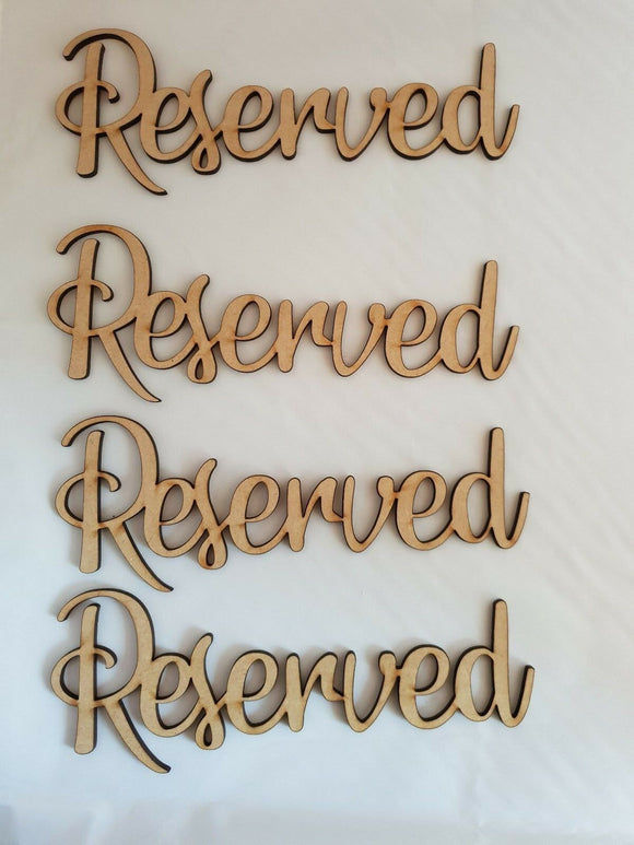 Poplar Ply Wooden words -  Reserved, Occupied etc - Cafe, Wedding, Parties etc - Sawfish Laser
