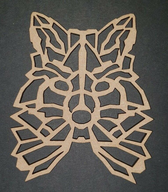 Wooden MDF geometric Fox Wolf head - craft, rustic, Nordic, - Sawfish Laser