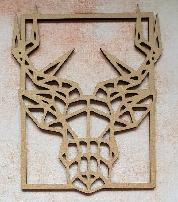 Geometric Stag Head Frame Laser Cut MDF - Sawfish Laser