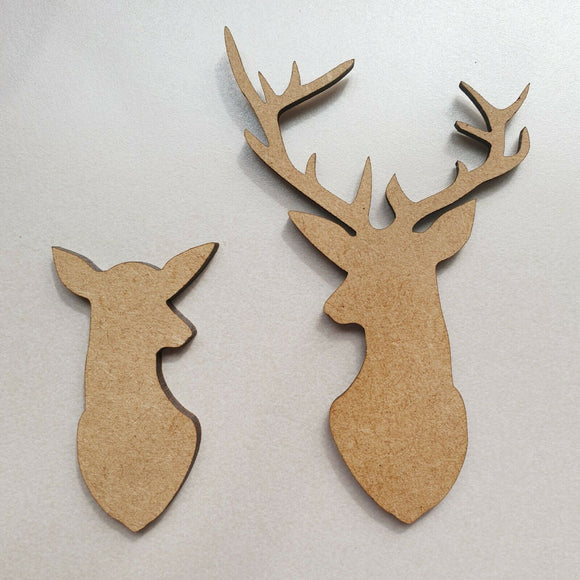 Laser Cut Rustic Wooden Pair MDF Stag & Doe Head Bambi Nordic Christmas Rustic - Sawfish Laser