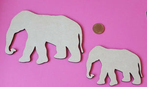Wooden MDF Elephant Shape - laser cut -  craft, mixed media - any size - Sawfish Laser