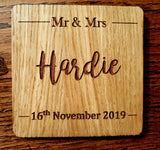 Laser Cut Engraved Personalised Wood Oak Wedding Place Mat Coaster Gift Set - Sawfish Laser