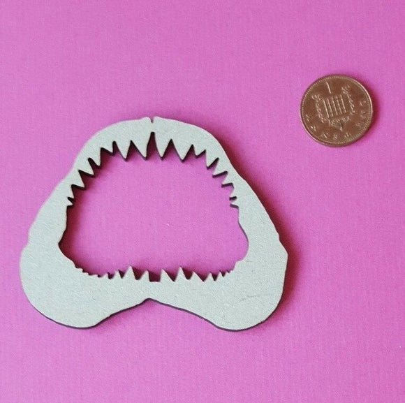 Wooden MDF Shark Bite Shape - craft, mixed media - laser cut - any size - Sawfish Laser