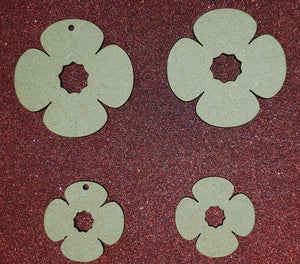Laser Cut Rustic MDF Poppy Remembrance WW1  -   40mm to 100mm, Nordic, Craft, - Sawfish Laser