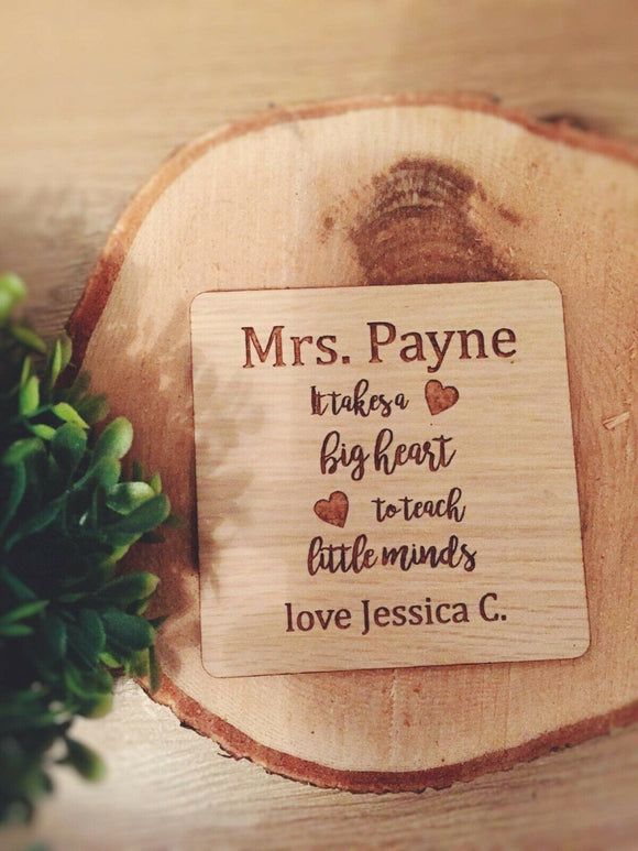 Laser Cut & Engraved Wood Oak Personalised Coaster Teacher Rustic Home Gift - Sawfish Laser