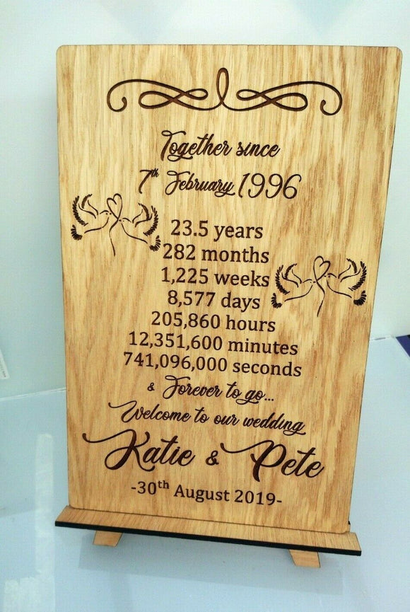 Personalised Engraved Anniversary Wedding Gift Plaque & Stand Oak Countdown Gift - Sawfish Laser