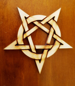 Laser Cut MDF Poplar Rustic Wooden Star Celtic Knot Pentagram Pentangle, Craft, - Sawfish Laser