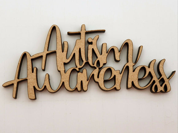 MDF Laser Cut Wooden MDF Words - Autism Awareness Week 1 - 7 April 2019 - Sawfish Laser