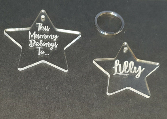 Laser Cut & Engraved Personalised Clear Acrylic Perspex Star keyring Christmas - Sawfish Laser