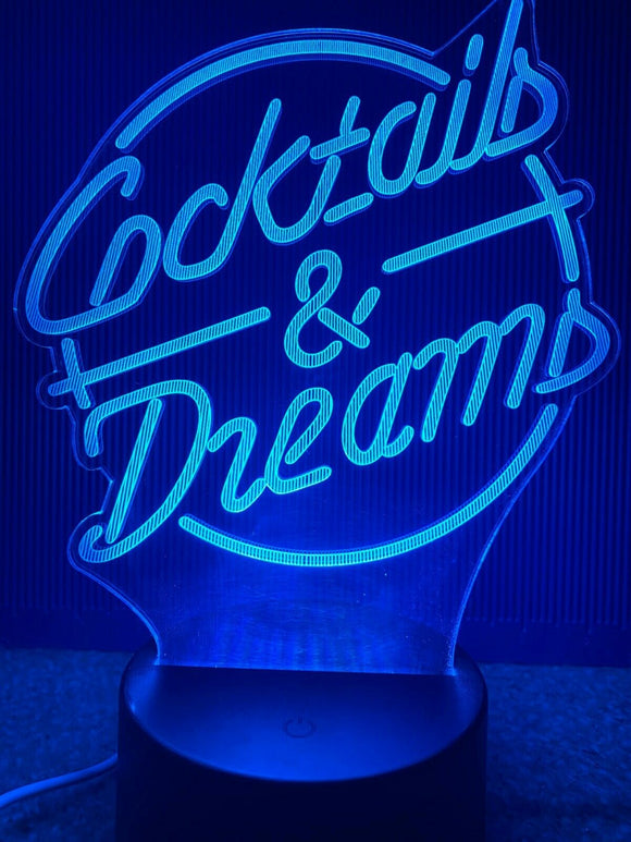 Laser Engraved LED Desk Light Cocktails & Dreams