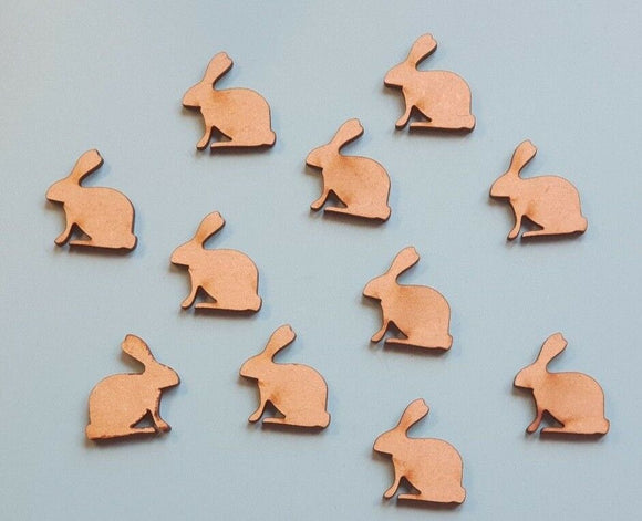Laser Cut Wood MDF .Easter Rabbit Bunny Hare - Spring Wedding Table Confetti - Sawfish Laser