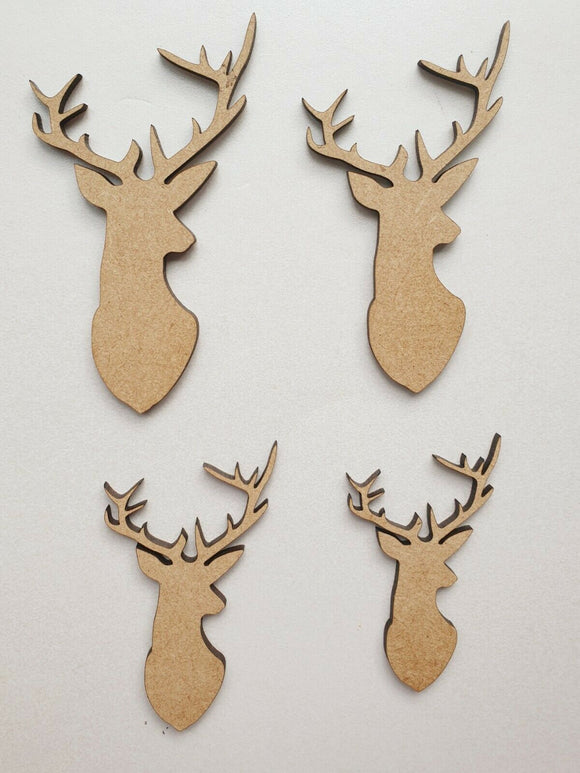 Laser Cut Rustic Wooden MDF Stag Doe Head -  40mm to 100mm, Nordic Craft Rustic - Sawfish Laser