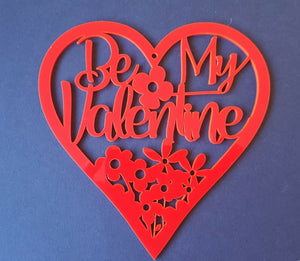 Laser Cut Rustic Wood MDF Red Perspex  Mothers Day Heart Flowers inc stand - Sawfish Laser