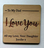 Laser Cut & Engraved Wood Oak Personalised Coaster Wedding Rustic Gift - Sawfish Laser